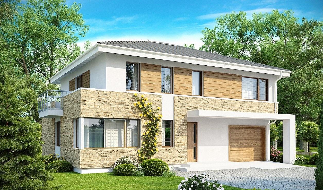 Проект одноэтажного коттеджа, общей площадью ,48 кв.м и габаритами 12,2 на 18,9 м, выполнен в современном стиле 31 руб.